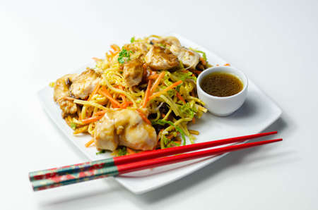 Cooked chicken breast pieces with savory garlic and ginger soy sauce and  noodles, black fungus mushrooms, savoy cabbage, and carrot, Chinese food Banque d'images
