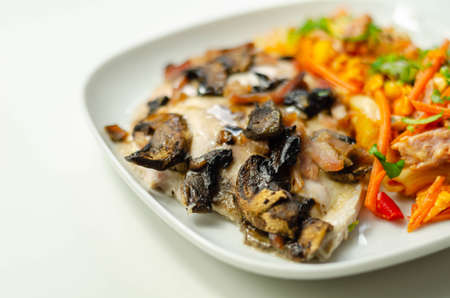 Chicken breast with sliced mushrooms, ham, in cheese sauce with pasta salad, diet food