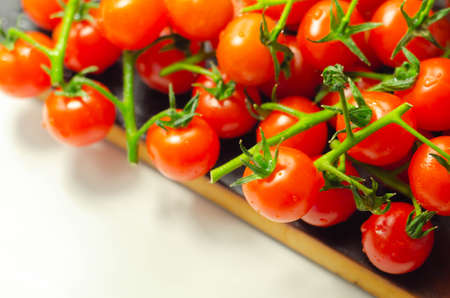Covered with drops of water, fresh tomatoes with sprigs on wood, vegetables Banque d'images