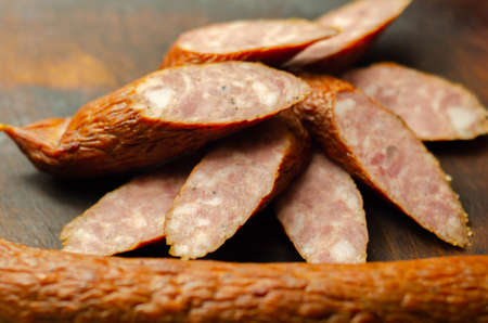 Traditional Polish sausage cut into slices, typical delicatessen product from Eastern Europe, meat food Banque d'images