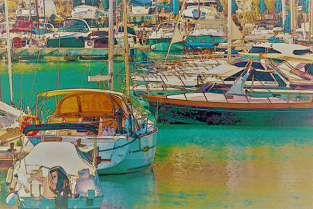 Illustration of a small port with yachts and ships in sunny Spain, watercolor painting Banque d'images