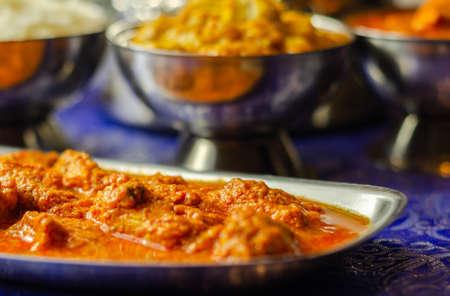 Mild chicken Korma and chicken Tikka Masala with Basmati rice, Indian food Stock fotó