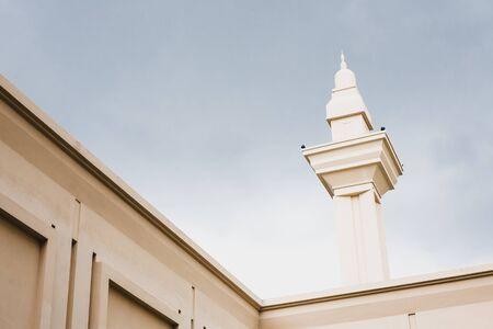 Shah Alam - 25 November 2017 : Minaret against storm cloud backdrop at Masjid Diraja Tengku Ampuan Jemaah