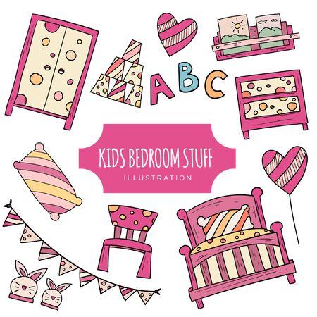 Kids Illustration, Cartoon Kid Bedroom with boy & girl lifestyle elements, bed, books, desk, bookshelf. Children Bedroom Interior with Furniture and Toys.