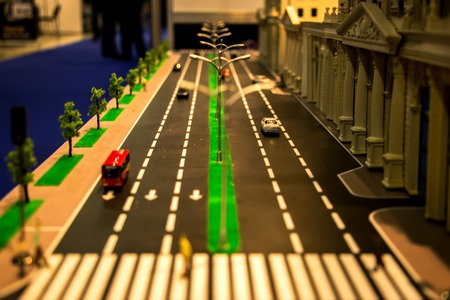 Miniature model,miniature building,city. Model Towns. Miniature model, miniature toy buildings, cars and people. City maquette Layout Stock Photo
