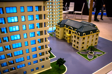 Multi-storey houses, photograph was taken in Baku at a construction exhibition at the Ekspotsentr on November 30, 2017