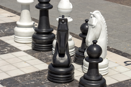 A great chess board with big chess in the garden Imagens