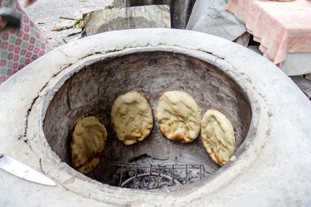 Azeri bread cooked in a charcoal oven