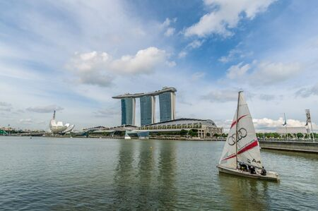 marina bay: View of Marina Bay Sands with Boat