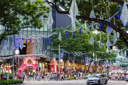 mixed age range: Orchard Road, Singapur, decoradas en las luces de Navidad