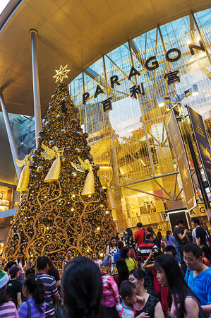 mixed age range: Orchard Road, Singapore, decorated in Christmas Lights