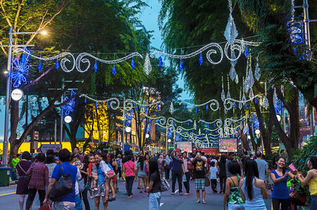 Orchard Road, Singapore, decorated in Christmas Lights