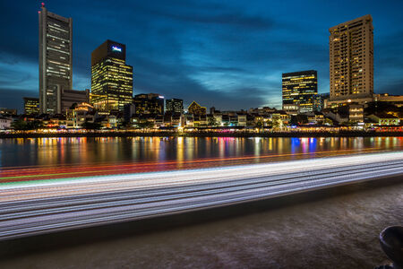 light trail: Light Trail at Boat Quay Singapore Stock Photo