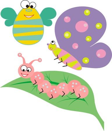 세 가지 재미있는 만화 곤충과 잎 일러스트