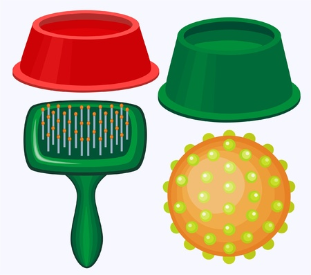 Illustration of dogs brush, toy and bowls