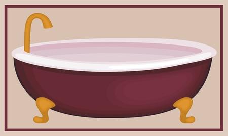 베이지 색 배경에 고립 된 빈티지 욕조의 그림