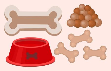 Ilustración de comida de perros aislados y bowl