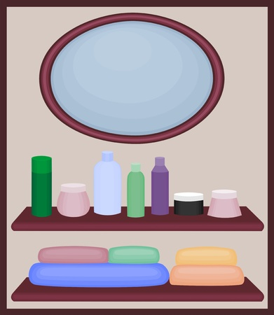 Mirror and shelves with vials and towels