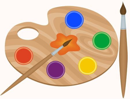Palette, paint and brushes