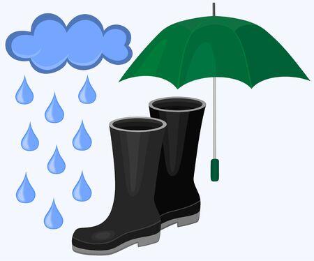 비오는 날씨 벡터 설정 일러스트