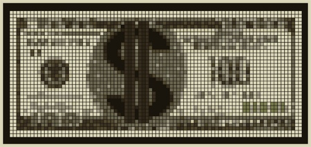 Illustration of an unreal currency with a dollar sign Illustration