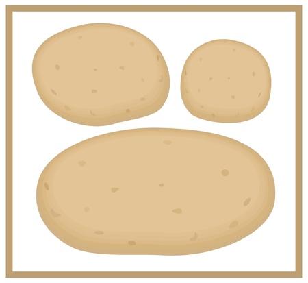 Illustration of three potatoes isolated over white background Illustration