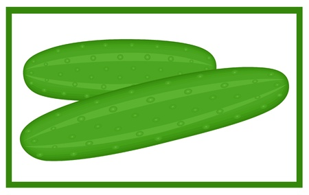 Illustration of two cucumbers isolated over white background