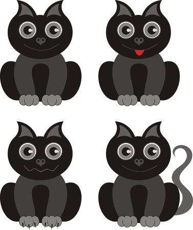 Cute black kitten  Illustration