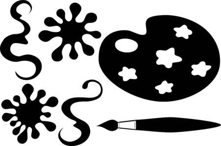 Drawing and blots vector set  Illustration