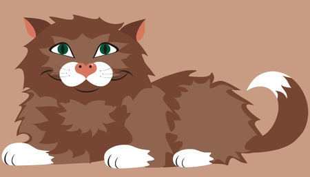 Cute brown cat  Illustration
