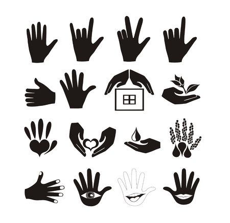 talk to the hand: Hands and logos vector set