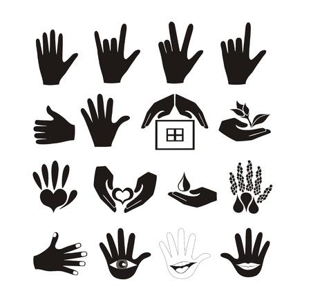 cuidar: Las manos y los logotipos de conjunto de vectores