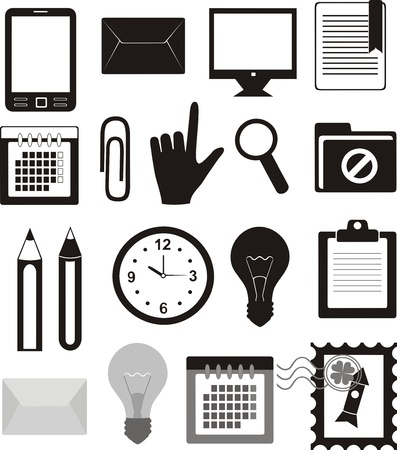 phone time: Office and delivery (set of icons)