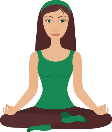 Young pretty woman practicing yoga  Illustration