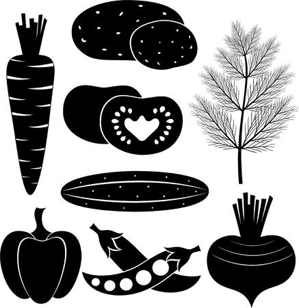 검은 색과 흰색 야채 세트 일러스트
