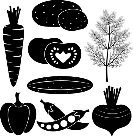 Set of black-and-white vegetables