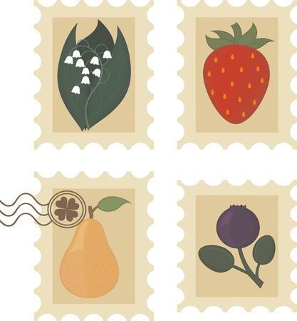 과일, 열매와 꽃 빈티지 우표