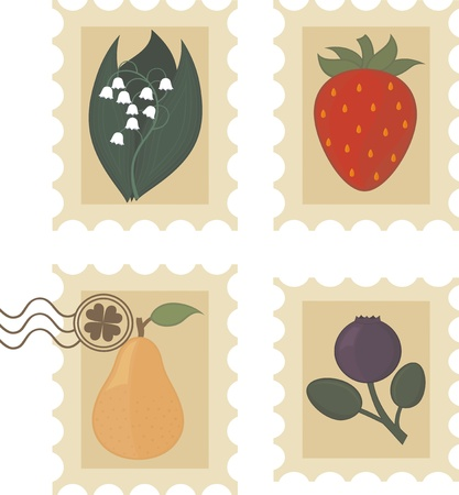 Vintage stamps with fruit, berries and flower