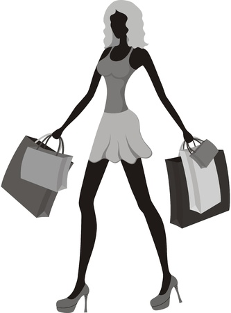 high detail: Shopping girl  Illustration