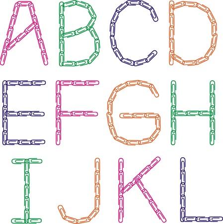Paper clips font (A-L)