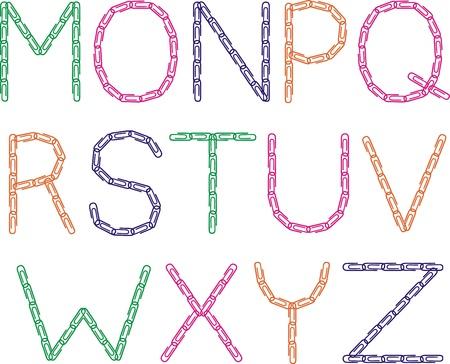 Paper clips font (M-Z)
