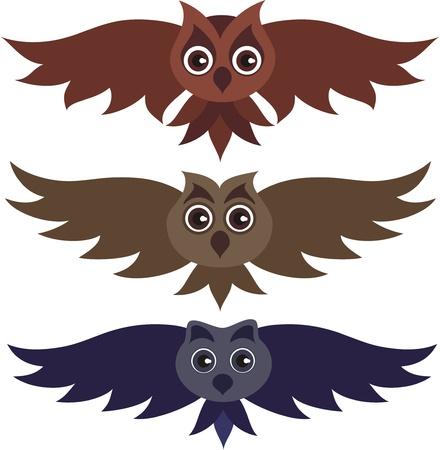birds in flight: Three vector owls