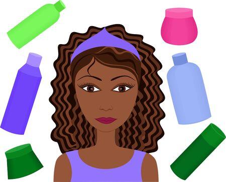 소녀와 화장품 스톡 사진