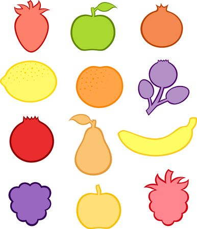 Collection of fruit and berry stickers