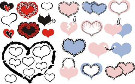 Hearts vector set