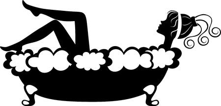 femme baignoire: Noir et blanc illustration de la jolie fille de prendre un bain