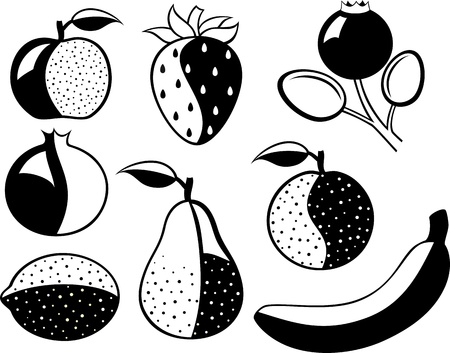Set of black-and-white fruit and berries  Illustration