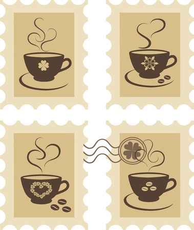 Stamps with coffee mugs Stock Vector - 12760918