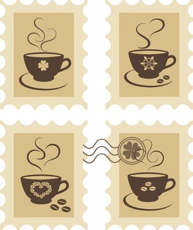 Timbres avec tasses à café
