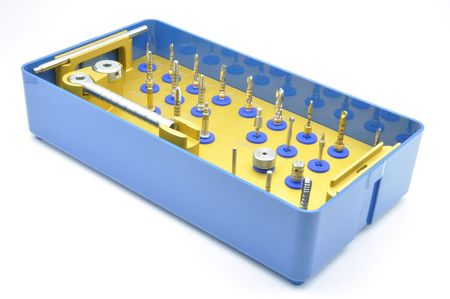 Box with the set of tools to insert dental implants  photo